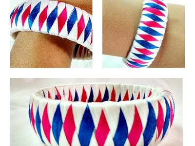 3 Colour Weave Silk Thread Bangle.Bracelet.Kada Diamond Design