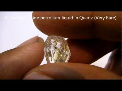 Air bubble inside petroleum liquid in Quartz (very rare) - 3 phase inclusion - En-Hydro Quartz