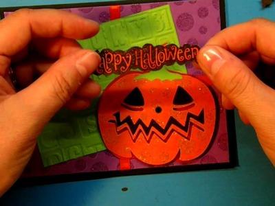 Cricut Pumpkin Happy Halloween card using Wrap It Up Cartridge