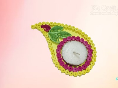 DIY: Handmade Quilling paper floating Diwali Diya - candle holder -Diwali Special