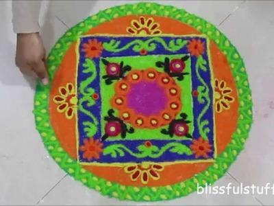 Easy free hand rangoli design, how to draw a colorful rangoli