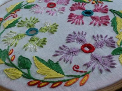 Hand embroidery tutorial-  cut work, rhodes stitch.