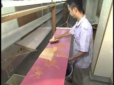 Japanese process of Yuzen: Hand dyeing material for Kimonos