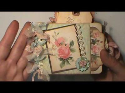 Shabby Chic Little coil bound Library Pocket album full of Pink Roses ShabbyBeautiful