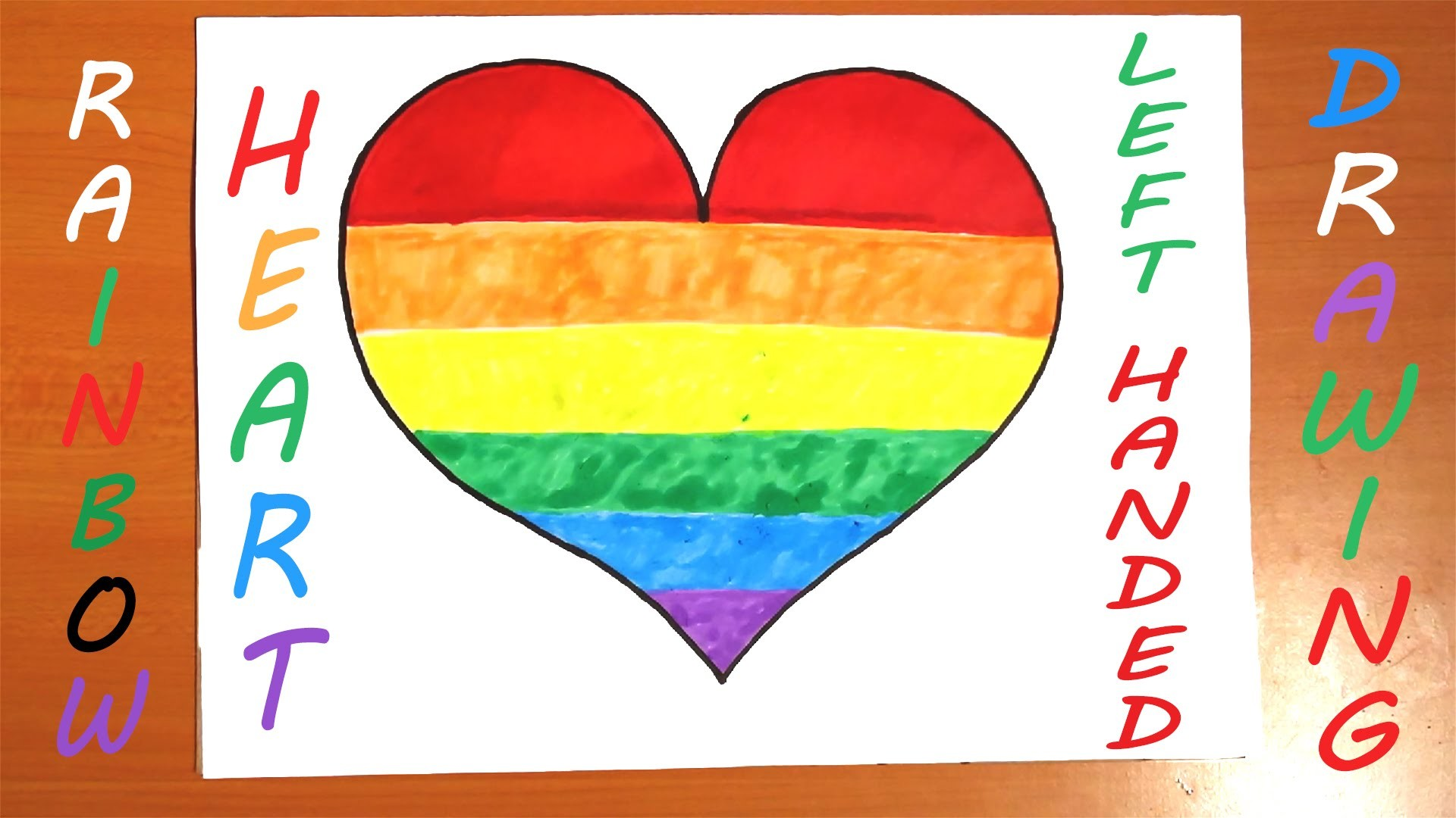 How To Draw A Rainbow Heart Easy Left Handed For Kids And Color A