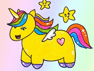 How to draw a rainbow unicorn with wings easy - for Kid - step by step - Happy Drawing