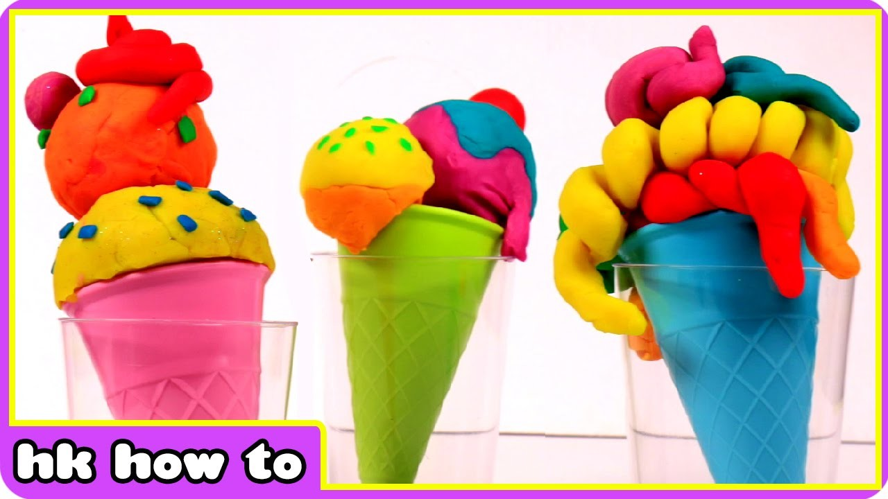 How To Make A Play Doh Rainbow Surprise Ice Cream - Play Doh Surprise by HooplaKidz How To