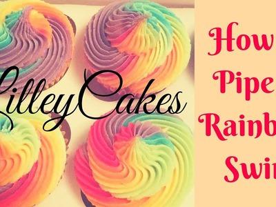 How to Pipe Rainbow Swirl Cupcakes