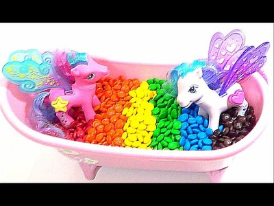 My Little Pony Rainbow Bath Time MLP Toys & M&M's!
