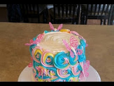 PASTEL RAINBOW ROSETTE CAKE. Spring rosette butterfly cake.