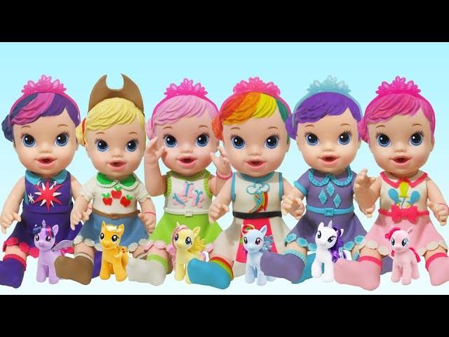 Play Doh Dresses Baby Alive Rainbow Dash Pinkie Pie Applejack Rarity Fluttershy Twilight Sparkle