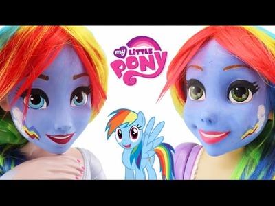 QUEEN ELSA and RAPUNZEL as RAINBOW DASH *** Makeup Makeover using Face Paint