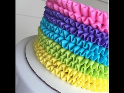 Rainbow Buttercream Ruffle Cake Time Lapse Tutorial