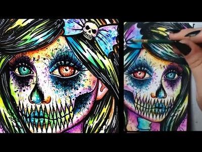 Rainbow Pop Art Skull Girl Speed Painting