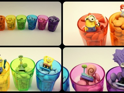 Smarties Candy Surprise SpongeBob Minions Learn Rainbow Colours with Smarties Cups