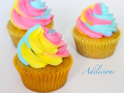 Thandai Cupcakes | Rainbow Swirl Cupcakes