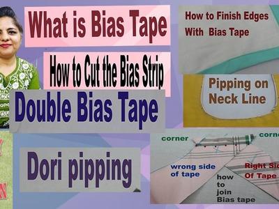 Bias tape tutorial-bias binding tutorial- bias strips finish-complete easy learning hindi video