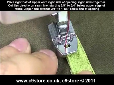 C9store concealed.invisible zipper presser foot - how to video