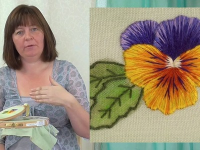 Hand Embroidery - Silk Shading - Long & Short stitch - Pansy Part 1