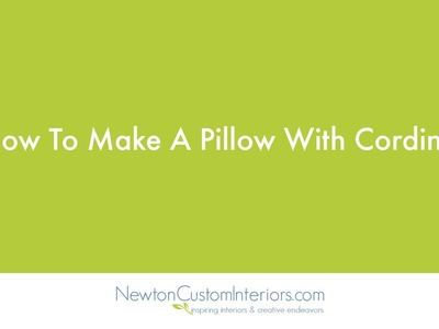 How To Make A Pillow With Cording