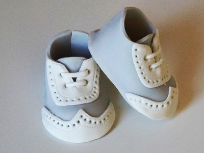 Cake decorating tutorial - how to make little man baby shoes - Sugarella Sweets