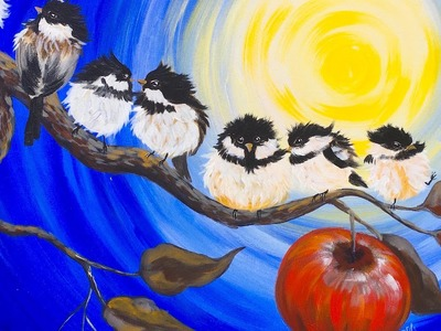 Chickadee Flock  and Apple Branch fall painting Tutorial for Beginners