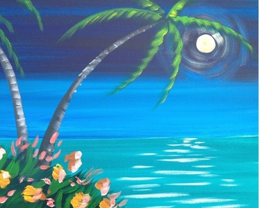 Easy Meditation Tropical Seascape Acrylic painting lesson
