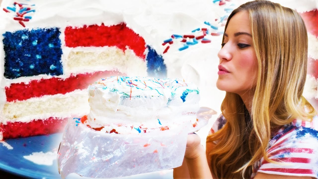 How To Bake An American Flag Cake   iJustine Cooking