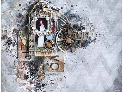 Mixed Media Vintage Style Layout for 7 Dots Studio