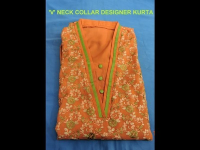 'V'  NECK COLLAR KURTA (easy and clear)