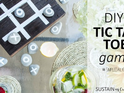 DIY Tic Tac Toe game with Stones and Reclaimed Wood Board