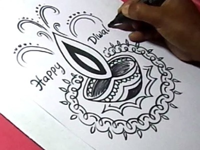 How to Draw DIWALI GREETING DRAWING Step by Step For Kids