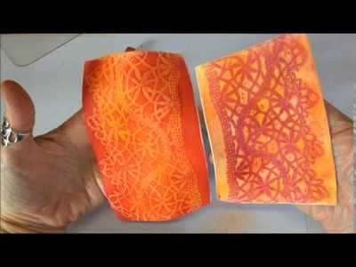 Polymer Clay Veneer Using Chalk Pastel and Lace #2