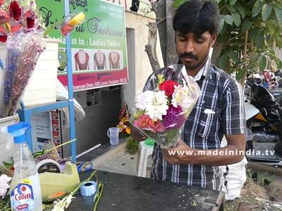 Flower Bouquet Preparation | How to Make a Bouquet | Making Flower Bouquet