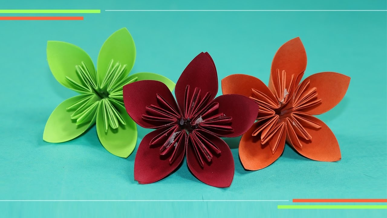 Origami Kusudam Flower How To Make Paper Flowers Easy For Biginners