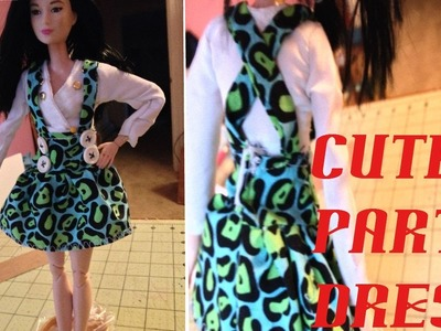 DIY Cute Summer Dress for Barbie Dolls.Tutorial