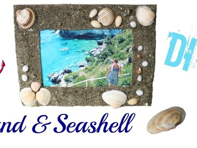 Sand and seashell picture frame DIY
