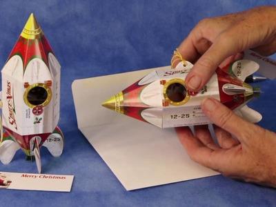 'Santa Space-Xmas Rocketship' Pop-Up Christmas Card Ornament