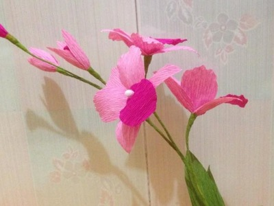 Beautiful Orchid Crepe Paper flowers - Flower Making of Crepe Paper - Paper Flower Tutorial