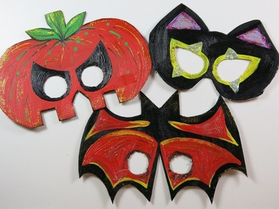 DIY Cute Halloween Masks for Kids. How to Make Masks from Cartons, Bat, Pumpkin,Cat