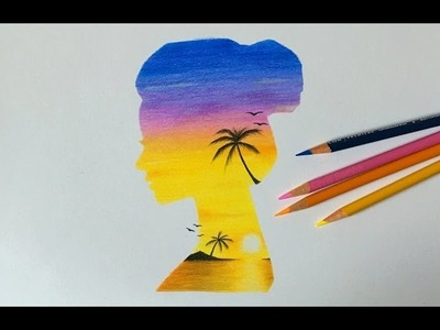 Drawing a Double Exposure Sunset Girl