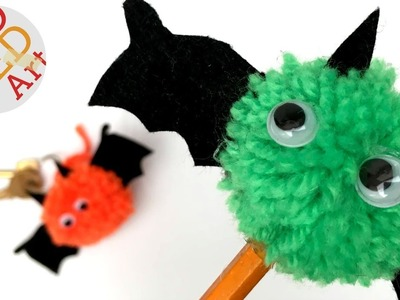 Easy Pom Pom Bats - Pencil Topper - Keychain - Cute Halloween DIY
