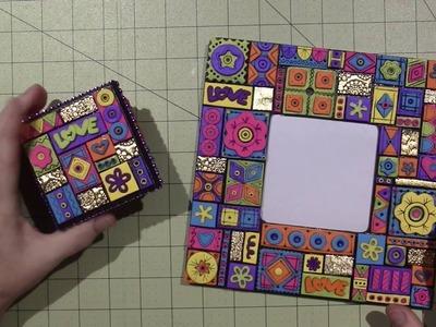 """Groovy"" Mosaic Frame and Trinket Box"