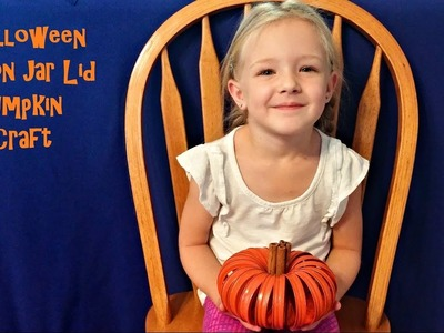 How to Make Halloween Pumpkin Decorations from Mason Jar Lids - DIY Kids Craft
