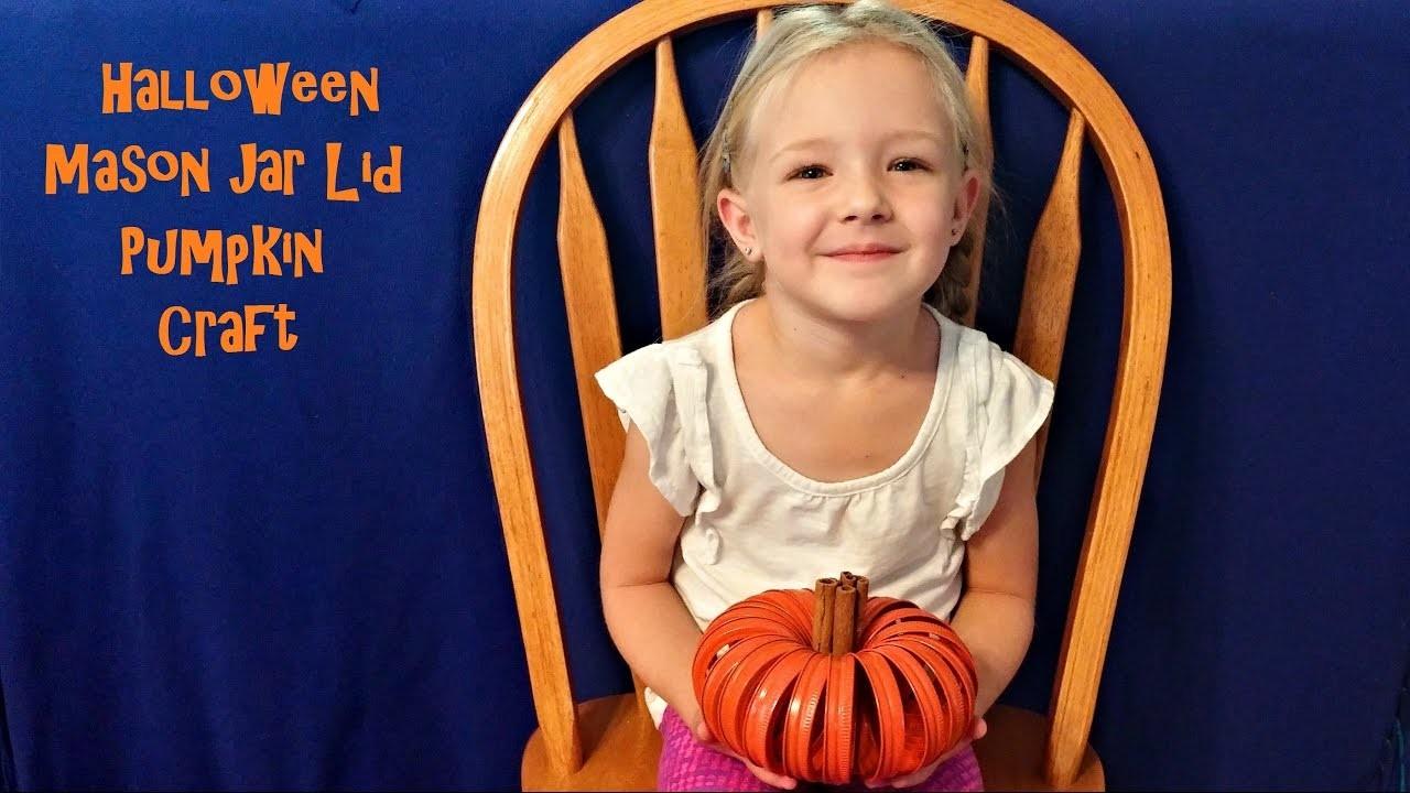 How to Make Halloween Pumpkin Decorations from Mason Jar Lids - DIY Kids Craft