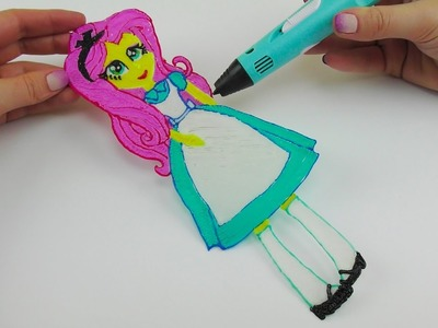 My Little Pony Fluttershy Equestria Girl in Alice in Wonderland Costume with 3D PEN! Video for Kids