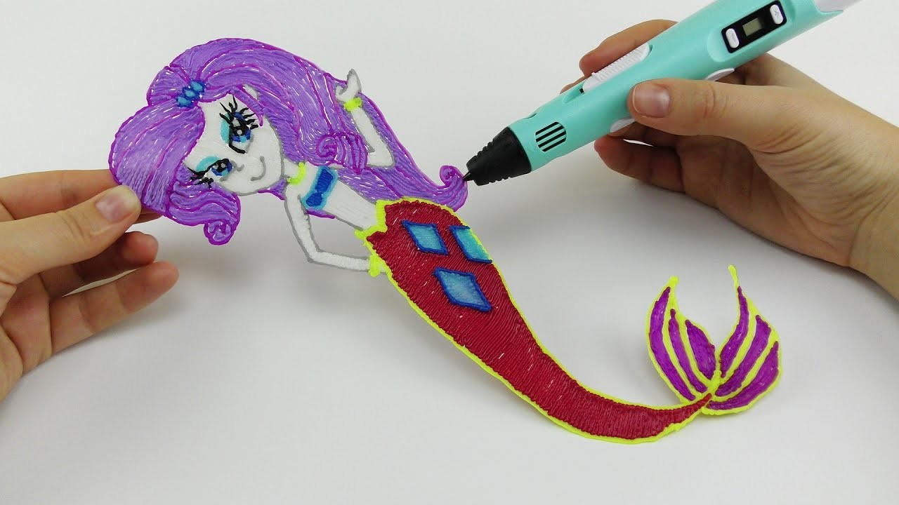 My Little Pony How To Draw Rarity Mermaid Equestria Girl with 3D PEN! Coloring Video for Kids