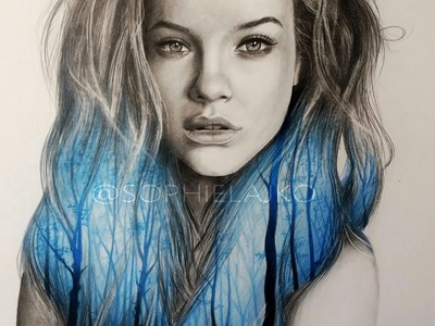Speed drawing: Barbara Palvin - Double Exposure Portrait