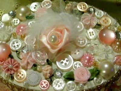 """Vintage Shabby Chic """"Button Charmed"""" Altered Paper Mache Box!"""