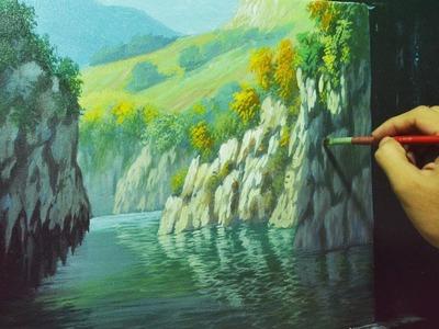 Acrylic Landscape Painting Lesson - Rocky Cliffs and River by JMLisondra